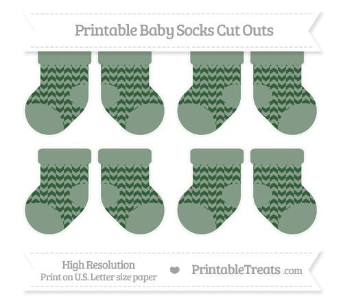 Free Hunter Green Herringbone Pattern Small Baby Socks Cut Outs