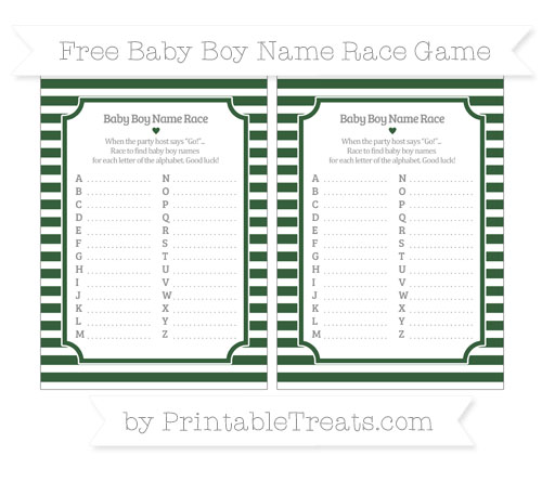 Free Hunter Green Horizontal Striped Baby Boy Name Race Game