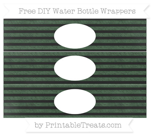 Free Hunter Green Horizontal Striped Chalk Style DIY Water Bottle Wrappers