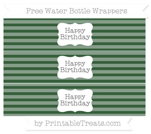 Free Hunter Green Horizontal Striped Happy Birhtday Water Bottle Wrappers