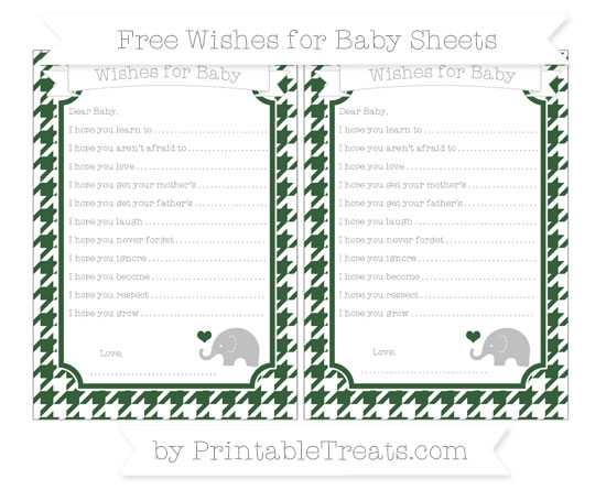 Free Hunter Green Houndstooth Pattern Baby Elephant Wishes for Baby Sheets