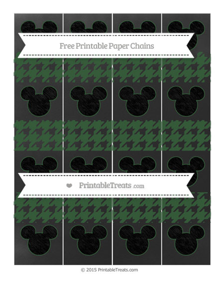Free Hunter Green Houndstooth Pattern Chalk Style Mickey Mouse Paper Chains