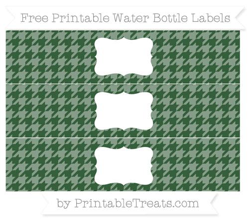 Free Hunter Green Houndstooth Pattern Water Bottle Labels