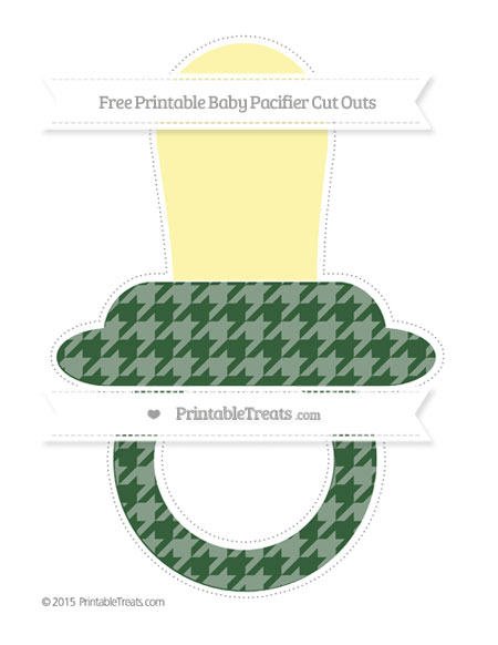 Free Hunter Green Houndstooth Pattern Extra Large Baby Pacifier Cut Outs