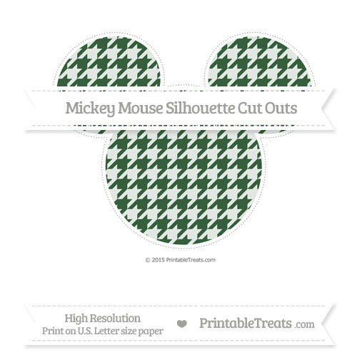 Free Hunter Green Houndstooth Pattern Extra Large Mickey Mouse Silhouette Cut Outs