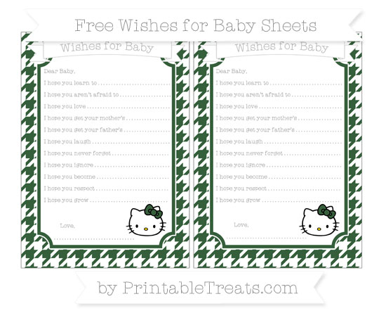 Free Hunter Green Houndstooth Pattern Hello Kitty Wishes for Baby Sheets
