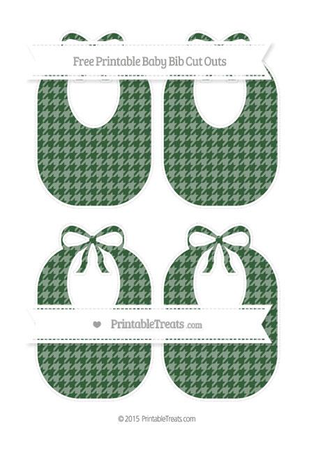 Free Hunter Green Houndstooth Pattern Medium Baby Bib Cut Outs