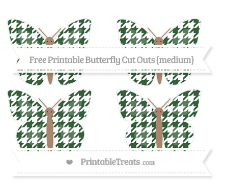 Free Hunter Green Houndstooth Pattern Medium Butterfly Cut Outs