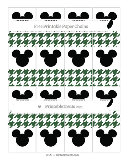 Free Hunter Green Houndstooth Pattern Mickey Mouse Paper Chains