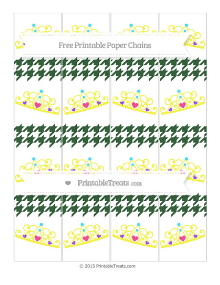 Free Hunter Green Houndstooth Pattern Princess Tiara Paper Chains