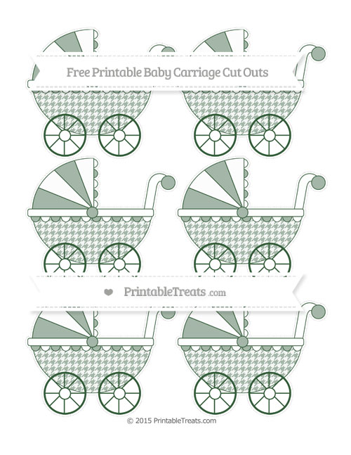 Free Hunter Green Houndstooth Pattern Small Baby Carriage Cut Outs