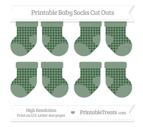 Free Hunter Green Houndstooth Pattern Small Baby Socks Cut Outs