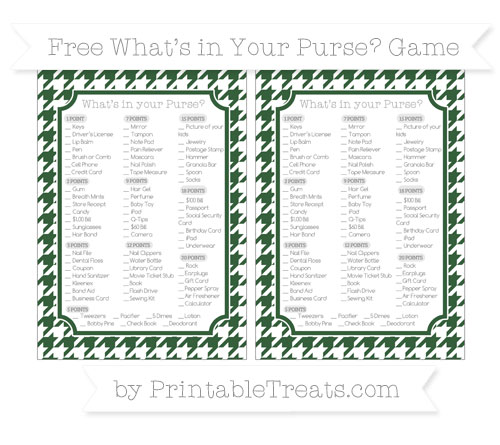 Free Hunter Green Houndstooth Pattern What's in Your Purse Baby Shower Game