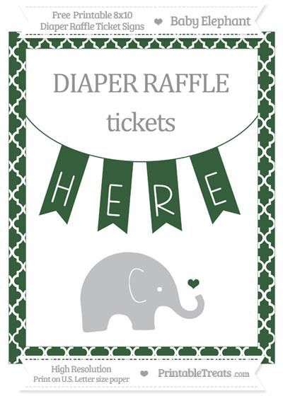 Free Hunter Green Moroccan Tile Baby Elephant 8x10 Diaper Raffle Ticket Sign
