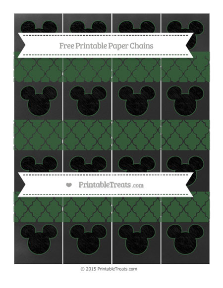 Free Hunter Green Moroccan Tile Chalk Style Mickey Mouse Paper Chains