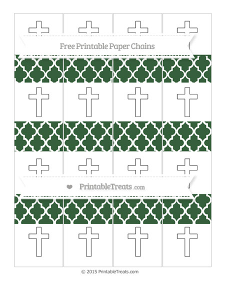 Free Hunter Green Moroccan Tile Cross Paper Chains
