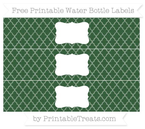 Free Hunter Green Moroccan Tile Water Bottle Labels
