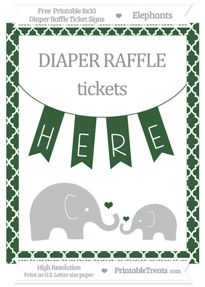 Free Hunter Green Moroccan Tile Elephant 8x10 Diaper Raffle Ticket Sign