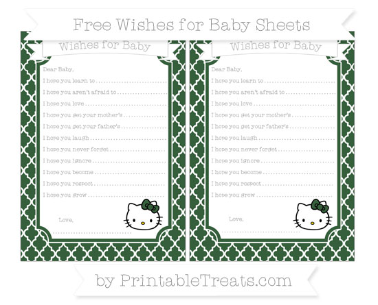 Free Hunter Green Moroccan Tile Hello Kitty Wishes for Baby Sheets