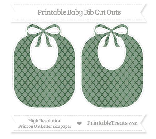 Free Hunter Green Moroccan Tile Large Baby Bib Cut Outs
