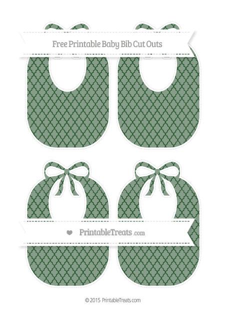 Free Hunter Green Moroccan Tile Medium Baby Bib Cut Outs