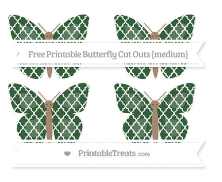Free Hunter Green Moroccan Tile Medium Butterfly Cut Outs