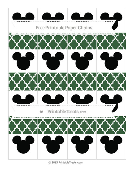 Free Hunter Green Moroccan Tile Mickey Mouse Paper Chains