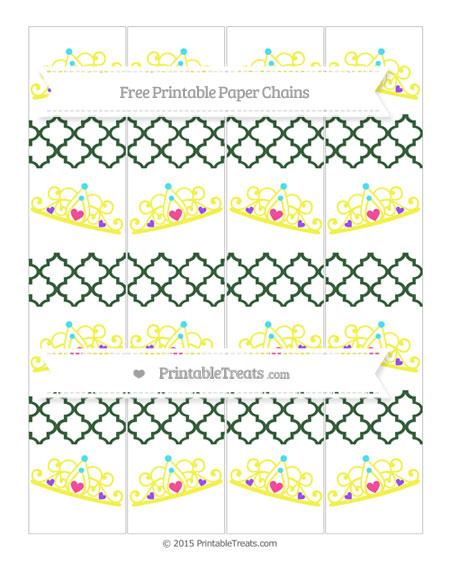 Free Hunter Green Moroccan Tile Princess Tiara Paper Chains