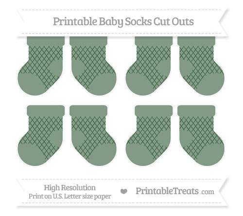 Free Hunter Green Moroccan Tile Small Baby Socks Cut Outs