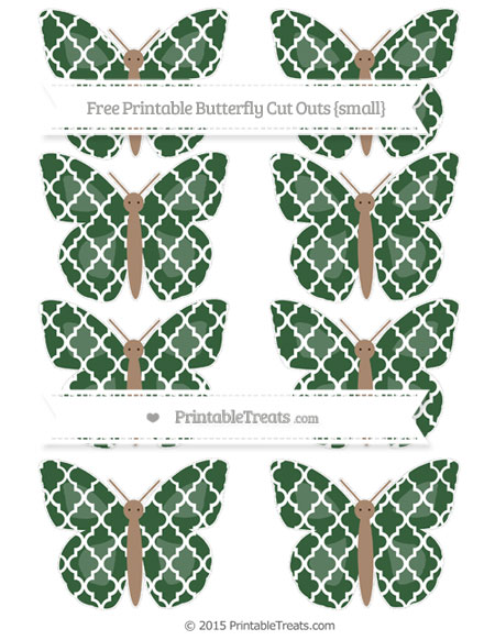 Free Hunter Green Moroccan Tile Small Butterfly Cut Outs