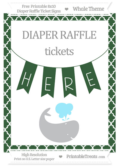 Free Hunter Green Moroccan Tile Whale 8x10 Diaper Raffle Ticket Sign