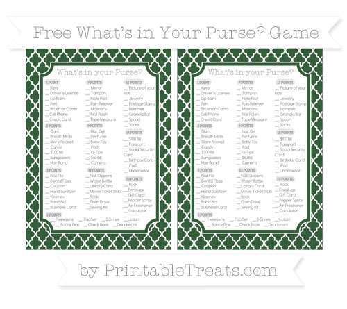 Free Hunter Green Moroccan Tile What's in Your Purse Baby Shower Game