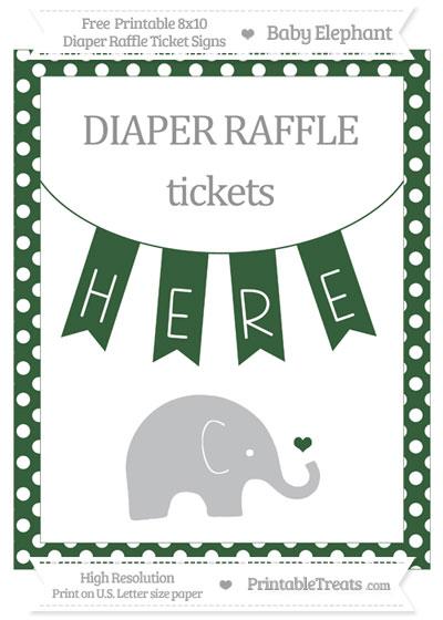 Free Hunter Green Polka Dot Baby Elephant 8x10 Diaper Raffle Ticket Sign
