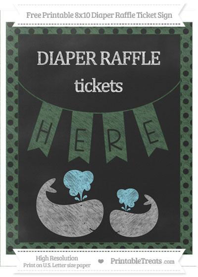 Free Hunter Green Polka Dot Chalk Style Baby Whale 8x10 Diaper Raffle Ticket Sign