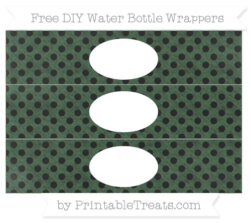 Free Hunter Green Polka Dot Chalk Style DIY Water Bottle Wrappers