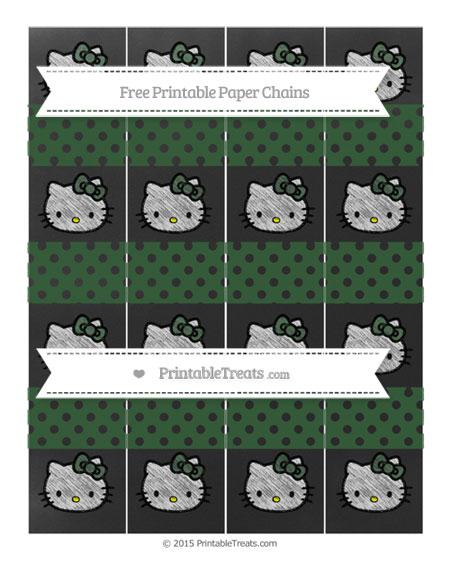 Free Hunter Green Polka Dot Chalk Style Hello Kitty Paper Chains