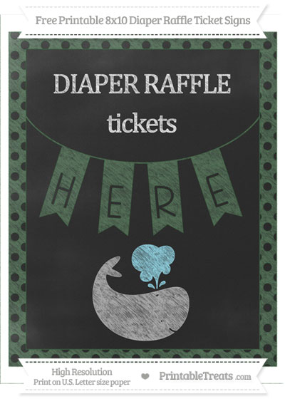 Free Hunter Green Polka Dot Chalk Style Whale 8x10 Diaper Raffle Ticket Sign