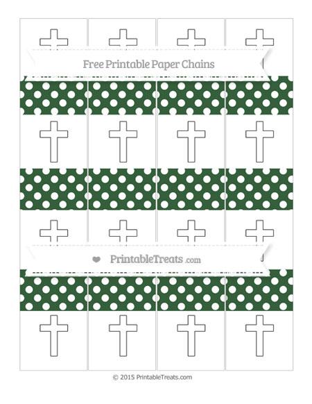 Free Hunter Green Polka Dot Cross Paper Chains