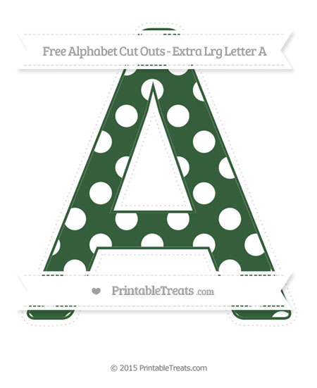 Free Hunter Green Polka Dot Extra Large Capital Letter A Cut Outs