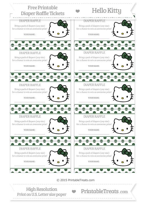 Free Hunter Green Polka Dot Hello Kitty Diaper Raffle Tickets