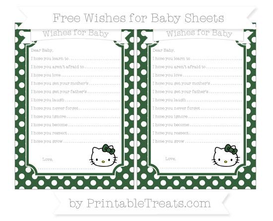 Free Hunter Green Polka Dot Hello Kitty Wishes for Baby Sheets