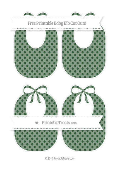 Free Hunter Green Polka Dot Medium Baby Bib Cut Outs