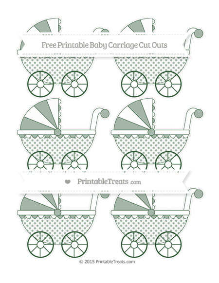 Free Hunter Green Polka Dot Small Baby Carriage Cut Outs