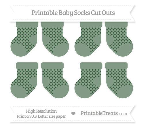Free Hunter Green Polka Dot Small Baby Socks Cut Outs