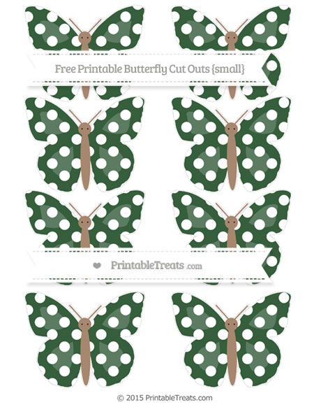 Free Hunter Green Polka Dot Small Butterfly Cut Outs