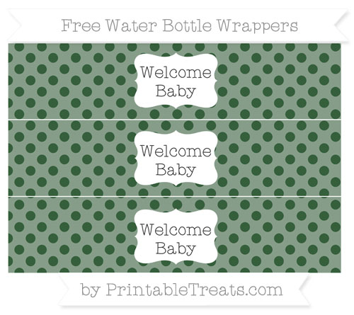 Free Hunter Green Polka Dot Welcome Baby Water Bottle Wrappers