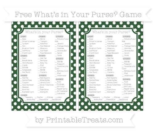 Free Hunter Green Polka Dot What's in Your Purse Baby Shower Game