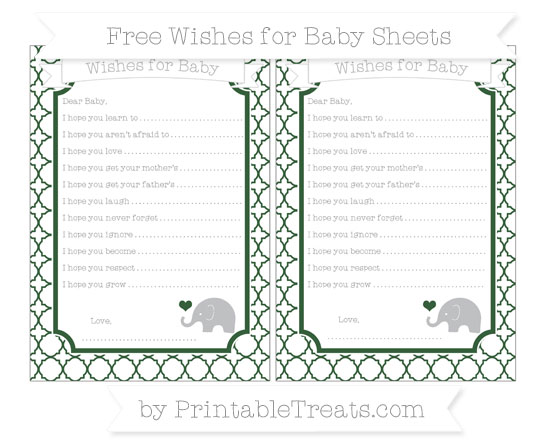 Free Hunter Green Quatrefoil Pattern Baby Elephant Wishes for Baby Sheets