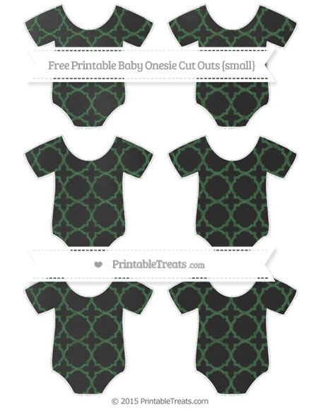 Free Hunter Green Quatrefoil Pattern Chalk Style Small Baby Onesie Cut Outs