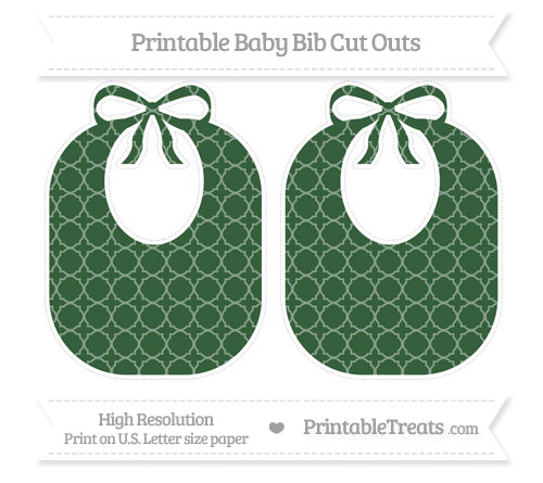 Free Hunter Green Quatrefoil Pattern Large Baby Bib Cut Outs